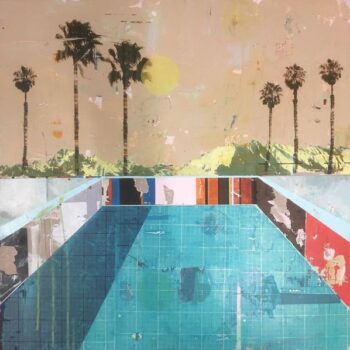 Dan Parry-Jones, Pool with Six Palms, acrylic, oil and screen-print on board, 80 x 80 cm