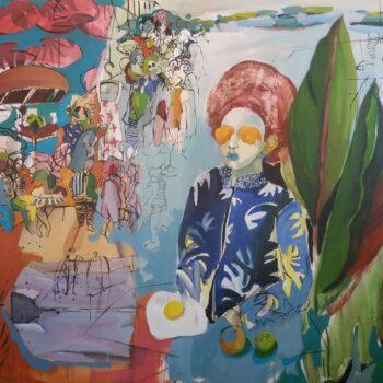 Golnaz Afraz, Le Pont de la Solitude, oil and acrylic on canvas, 150 x 120 cm