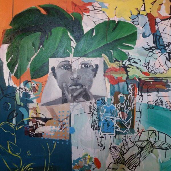 Golnaz Afraz, Last Road, acrylic and oil on canvas, 80 x 80 cm