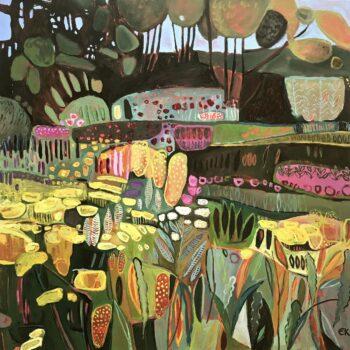 Elaine Kazimierczuk, Jolly Fun in the Garden, oil on canvas, 76 x 76 cm