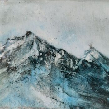 Serena Curmi, Ice Peaks, oil and resin on board, 9.5 x 6.5 cm