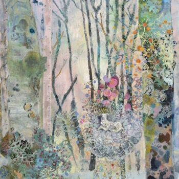 Pen Reid, Lichen, oil on board, 60 x 80 cm