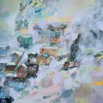 Pen Reid, Hunters, oil on linen, 100 x 70 cm