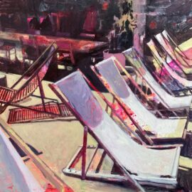 Lucinda Metcalfe, Paris Heat, oil on acrylic on board, 49.5 x 39 cm