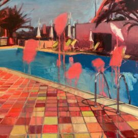 Lucinda Metcalfe, Pool Party, oil on acrylic on board, 44 x 38 cm