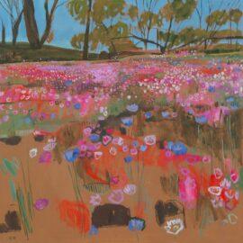 XVIII Everlastings and Cornflowers on Cunderdin Hill, Western Australia, oil on canvas, 95 x 95 cm