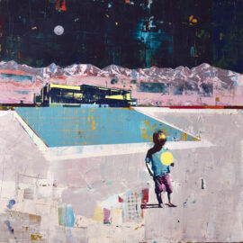 Dan Parry-Jones, Boy by Pool with Yellow Ball, acrylic, oil and screen-print on board, 100 x 100 cm