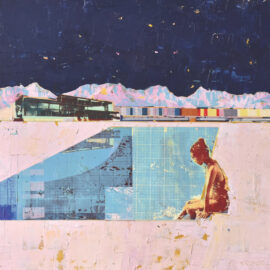 Dan Parry-Jones, Night Swimmer with Pink Mountains, acrylic, oil and screen-print on board, 100 x 100 cm