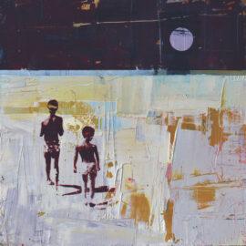 Dan Parry-Jones, Beach Walk at Night, acrylic, oil and screen-print on board, 40 x 40 cm