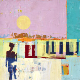 Dan Parry-Jones, Sunset over the Wall, acrylic, oil and screen-print on board, 50 x 50 cm