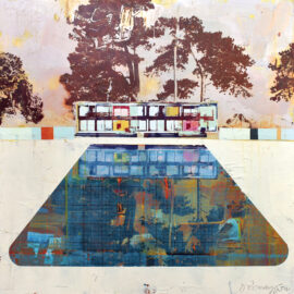 Dan Parry-Jones, Cabin with Trees and Pool, acrylic, oil and screen-print on board, 80 x 80 cm