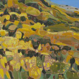 VIII Wind across the Gorse, Menstrie Glen, Ochil Hills, oil on canvas, 120 x 90 cm