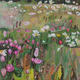 XIII Donna Rainey's Orchid Meadow, oil on canvas, 51 x 51 cm (left panel of diptych)