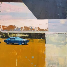 Dan Parry-Jones, Mustang with Mountains, 40 x 40 cm (to be framed in a 9 cm white wooden frame)