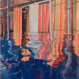 Lucinda Metcalfe, Striped Reflections, oil on canvas, 40 x 50 cm