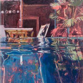 Lucinda Metcalfe, Taking a Dip, oil on canvas, 40 x 50 cm